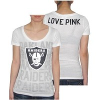 Womens NFL Oakland Raiders T Shirt by Pink Victoria's Secret - White (Size: L)