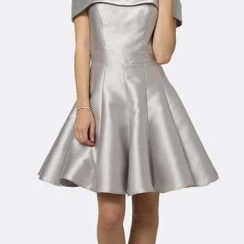 Silver Off-the-Shoulder Homecoming Party Dress
