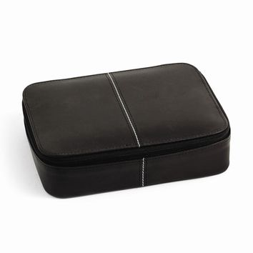 Leather Jewelry Box with Zippered Closure Available in Black/Red - Perfect Gift