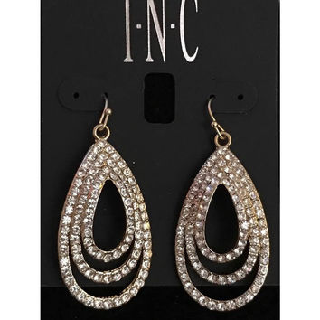 WHITE TRIPLE SATURN DROP EARRINGS BY INC