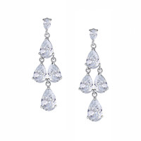 Queen Pear Drop Cubic Zirconia Earrings (Clear)
