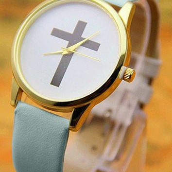 Blue Leather Cross Watch
