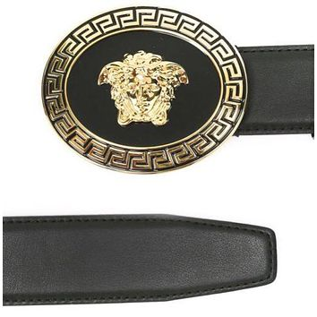 New men's Versace oval medallion Vitello belt retail $495. Sz 90(34)-105(40)