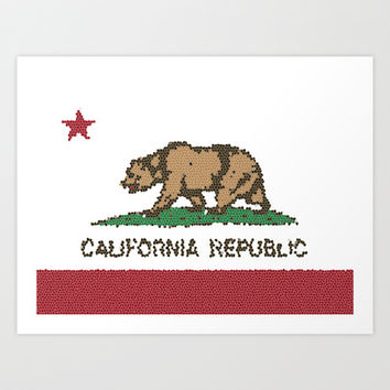 California Bear Flag Stained Glass Art Print by NorCal