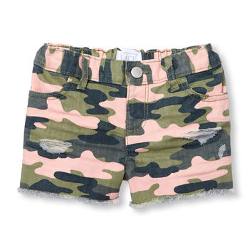 Toddler Girls Destructed Camo Print Woven Shorts | The Children's Place