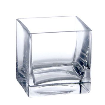 "Clear Glass Square Vase - 4"" Tall x 4"" Wide"