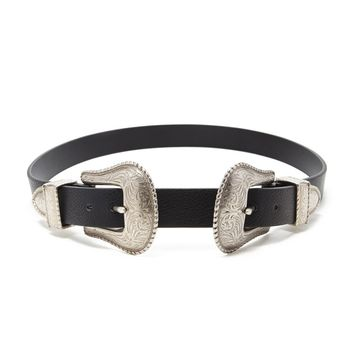 Etched Double-Buckle Belt