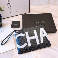 Chanel Black/White Leather Pouch