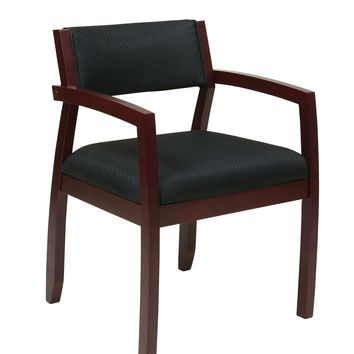 Office Star Black Napa Mahogany Fabric Guest Chair with Upholstered Back