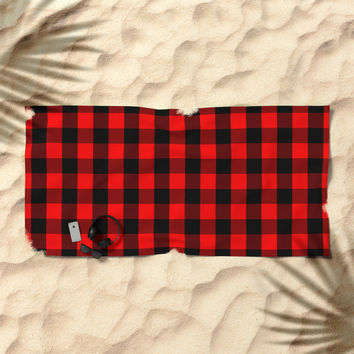 Classic Red and Black Buffalo Check Plaid Tartan Beach Towel by podartist