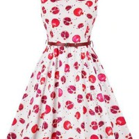 Vintage Style Dress With Pomegranate Print