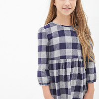 FOREVER 21 GIRLS Gingham Babydoll Top (Kids) Navy/Grey