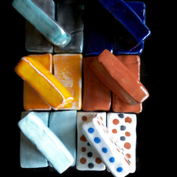 Beads- Square ceramic beads- Rectangular, large beads, handmade and handpainted - Craft/Jewelry supplies- Clay pendant. Colorful set.