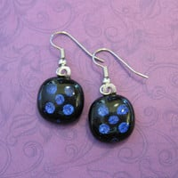 Blue Polka dot Earings, Dangle Earrings, Hypoallergenic Jewelry - Midnight Fiesta - 2120 -3