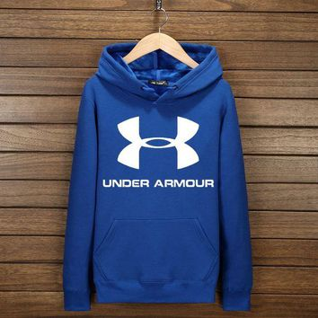 ONETOW Under Armour Fashion Print Cotton Long Sleeve Sweater Pullover Hoodie Sweatshirt Blue G-YSSA-Z