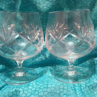 Heavy Cut Lead Crystal Cognac Glasses // Brandy Snifters // Balloon Glasses // Set of 2