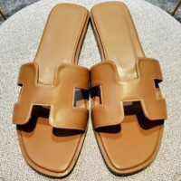 Hermes flat bottom casual H slippers wild female beach sandals and slippers brown
