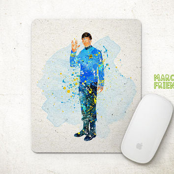 Spock Mouse Pad, Star Trek Watercolor Art, Mousepad, Office Deco, Gifts, Art Print, Movie Print, Desk Decor, Star Trek Accessories
