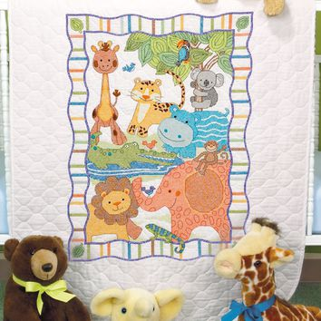 "Mod Zoo Dimensions/Baby Hugs Quilt Stamped Cross Stitch Kit 34""X43"""