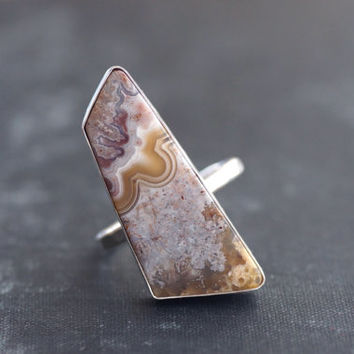 Crazy Lace Agate Geometric Shaped Gemstone in Sterling Silver