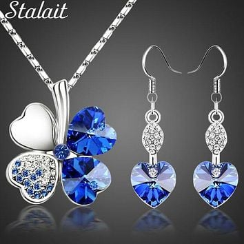 Everyday Jewelry Set Lucky Silver Color Clovers Necklace Heart Austrian Crystal Earrings Fashion Necklace Set