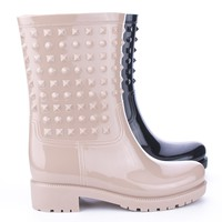 AlidaHX1 Mid Calf Ankle Indented Studded Jelly Rain Boots