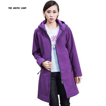 2016fleece waterproof softshell jacket women outdoor chaqueta impermeable mujer long hiking jackets windstopper hunting clothes