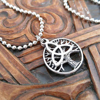 Silver Celtic Necklace, Tree of Life Necklace, Triquetra Necklace, Silver Tree Necklace, Celtic Necklace