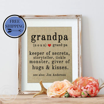 Grandparents Day | Fathers Day Gift | Burlap Art Print | Birthday Gift for Grandpa | Gift for Grandpa | Personalized Gift for Him