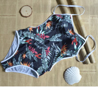 Fashion white edge leaf print one piece bikini slim backless
