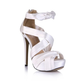 Black Satin Bow High Heels Women Sandals White Gladiator Shoes Platform Cover Heel Summer Ankle Cross-Strap Party Wedding Shoes