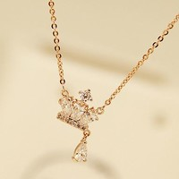 Crown and Drop Rhinestone Necklace - LilyFair Jewelry