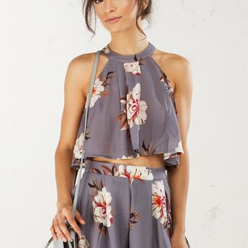 Floral Crop Top in Grey
