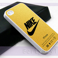 Iphone Case - Iphone 4 Case - Iphone 5 Case - Samsung s3 - samsung s4 - Nike logo gold texture - Photo Print on Hard Plastic