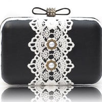 Black White Lace Box Clutch Leather Pearl Evening Prom Party Over Shoulder Bag Daily Messenger Purse Minaudiere
