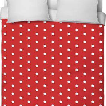 Classic polka dots pattern, red and white retro duvet cover, vintage bedroom