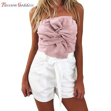 New Fashion Sexy Women Sleeveless Suede Leather Tank Tops Strapless  Big Bow Back Zipper Short Crop Top Female Cropped Feminino