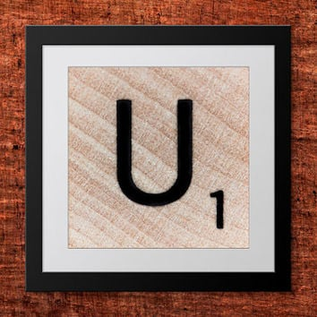 DIY Wall Art, Letter U-Personalized Word Art, Instant Download, Printable Letter, Scrabble Wall Art, Alphabet Art, Downloadable Image, Print