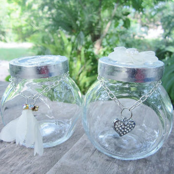 Small Glass Jar Set of 2 containers circular ivory leaves heart charm crystal glitter jewelry trinket storage organize  OOAK
