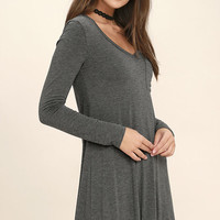 Relaxation Heather Grey Long Sleeve Dress