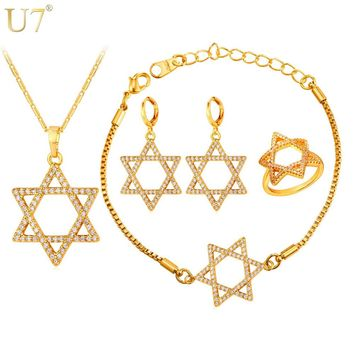 U7 Jewish Jewelry Magen Star of David Necklace Bracelet Ring And Earrings Gold Color Israel Wedding Bridal Jewelry Sets S868