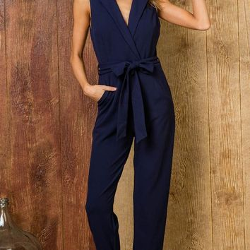 Reach Your Potential Sleeveless Cross Wrap V Neck Lapel Tie Waist Loose Jumpsuit - 2 Colors Available