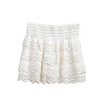 Zacoo Women's Crochet Pleated Lace Shorts Free Size Color white