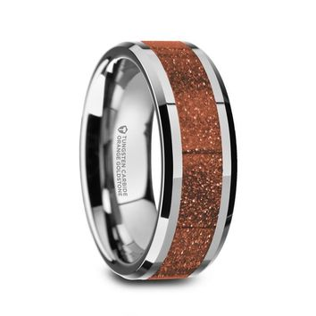 Orange Goldstone Inlay Tungsten Carbide Ring, Beveled