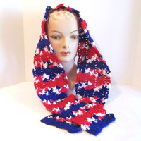 Blue & Red Scarf w/ Variegated Red, White, Blue Stripes, Hand Crocheted Scarf - M0117