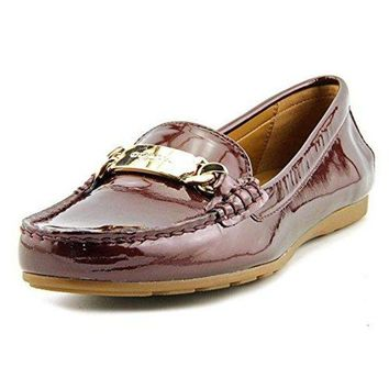 LMF3DS Coach Olive Women Moc Toe Patent Leather Burgundy Loafer