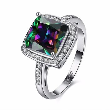 Retro Women Ring Full Rhinestone Rainbow Zircon Ring