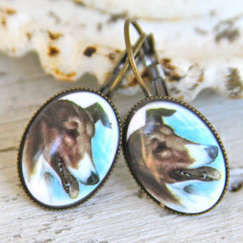 Brown Dog Earrings - Brown Collie Dog Cameo Oval Blue  Antique Brass Drop Lever back Dangle Earrings - Wedding, Animal lover, Dog Lover