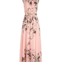 ModCloth Pastel Long Sleeveless Maxi Fete of Florists Dress