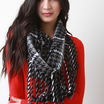 Twisted Fringe Houndstooth Plaid Scarf